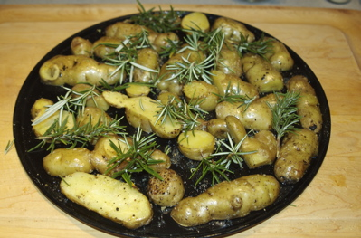 Ozette potatoes roasting with rosemary