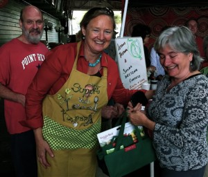 Salad Dressing Contest Winner Eleanore Despina receiving her prize from Amy Whelan.